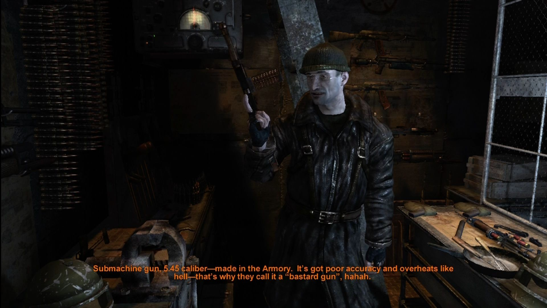 Metro 2033 Xbox 360 Getting a weapon from the armory.