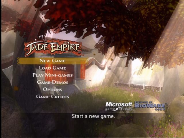 Jade Empire Xbox Title screen.