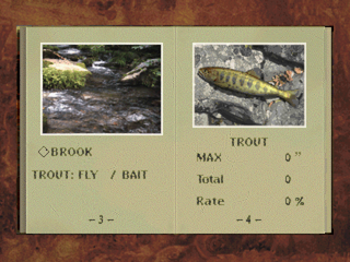 Reel Fishing PlayStation Fishing locations are selected on album pages.