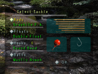 Reel Fishing PlayStation Tackle selection
