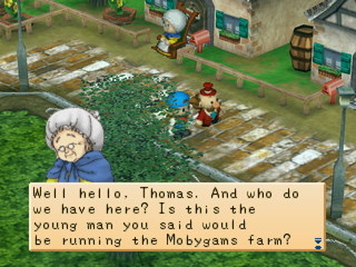 Harvest Moon: Back to Nature PlayStation Touring the village with the mayor.