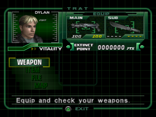 Dino Crisis 2 PlayStation Equipment screen