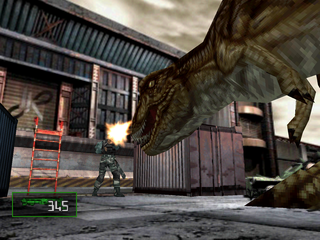 Dino Crisis 2 PlayStation Dylan fighting the T-Rex.
