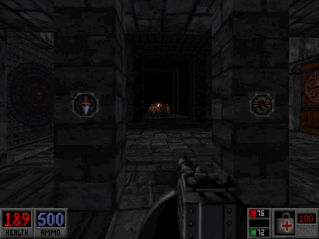Blood: Plasma Pak DOS Level 7 - The Dungeon. Baddies on the charge.