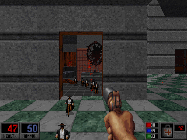 Blood: Plasma Pak DOS Break these mirrors and mini-Calebs attack, a la Army of Darkness.
