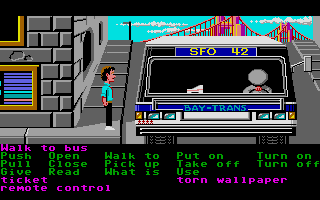 Zak McKracken and the Alien Mindbenders Atari ST The bus and it's lazy sleeping driver.