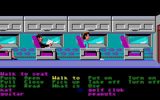 Zak McKracken and the Alien Mindbenders Atari ST Zak on a plane.