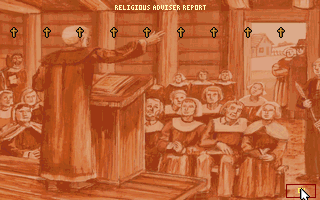Sid Meier's Colonization DOS Religious Adviser report.