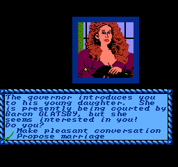 Sid Meier's Pirates! NES Governor's daughter: the most beautiful one and the one that I hope to be able to marry