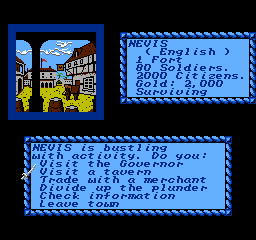 Sid Meier's Pirates! NES Visiting a town.