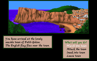 Sid Meier's Pirates! Amiga Arriving at a seaside town.