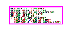 Sid Meier's Pirates! Apple II Main Menu.