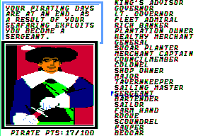 Sid Meier's Pirates! Apple II Retiring as a sergeant.
