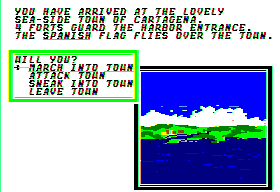 Sid Meier's Pirates! Apple II Entering a town.