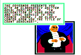 Sid Meier's Pirates! Apple II Getting awarded from a governor.
