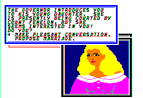 Sid Meier's Pirates! Apple II A governor's daughter. Useful for gossip and of course marriage.