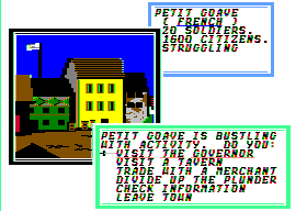 Sid Meier's Pirates! Apple II Visiting another port.