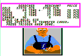 Sid Meier's Pirates! Apple II Trading with a merchant.