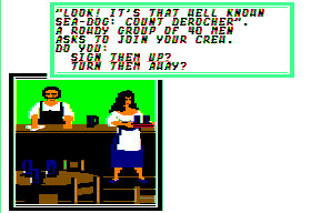 Sid Meier's Pirates! Apple II Tavern. I'd like a coke and fries, please.