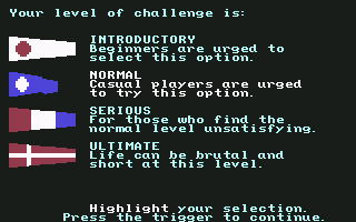 Red Storm Rising Commodore 64 Chose your level of play.