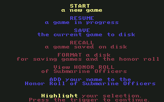 Red Storm Rising Commodore 64 Main menu
