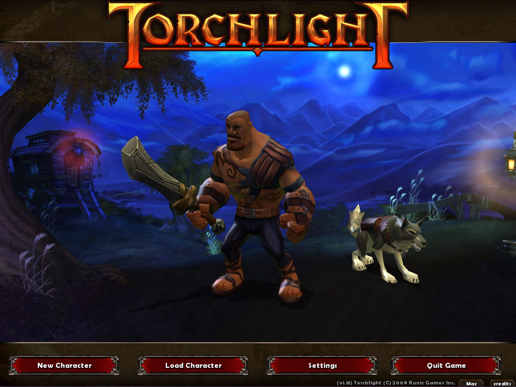Torchlight Macintosh Main Menu: Displaying your character