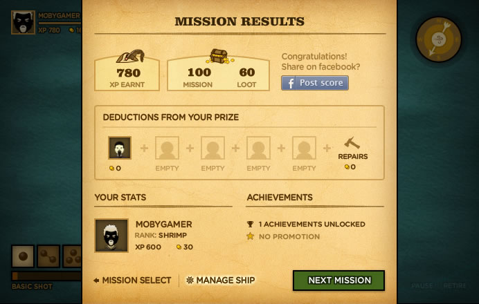 Trafalgar Origins Browser Mission results, you earn experience and gold.