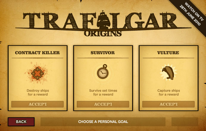 Trafalgar Origins Browser Assign a personal goal for additional rewards
