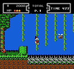 Disney's DuckTales NES Amazon - Scrooge uses vines to cross a spike pit.