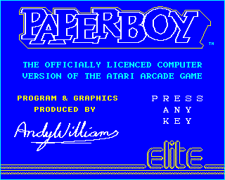 Paperboy BBC Micro Title screen