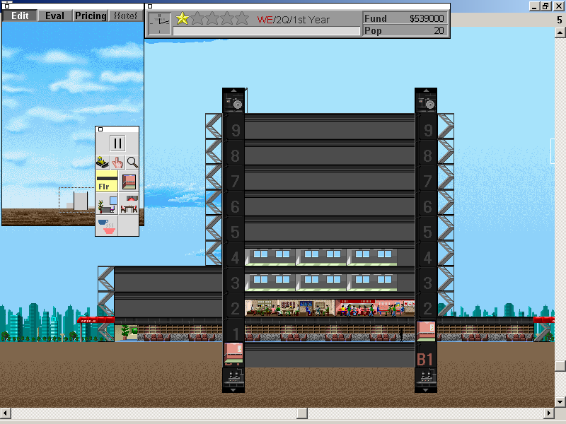 SimTower: The Vertical Empire Windows 3.x The first two elevators connect our lobby to the rest of the Tower