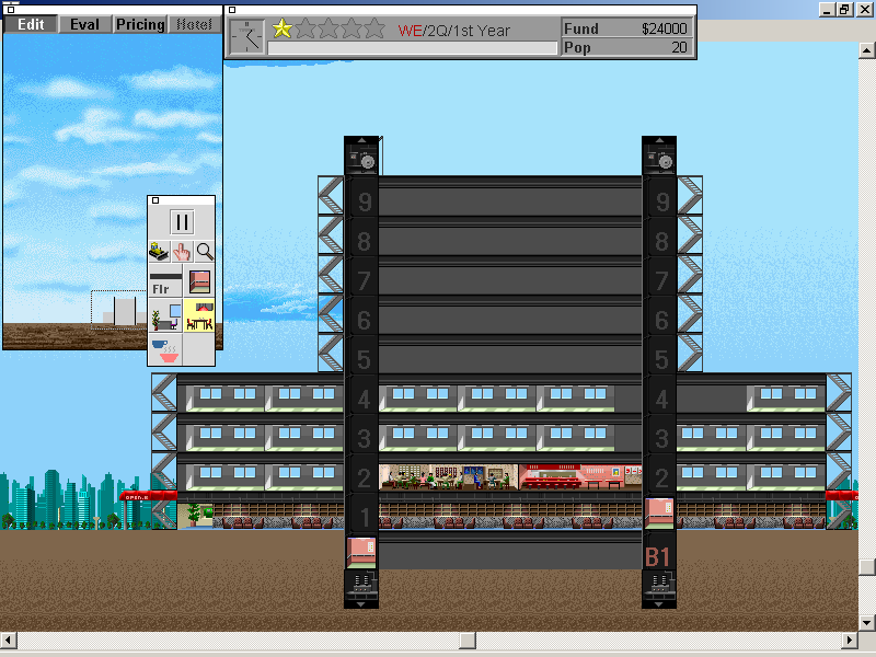 SimTower: The Vertical Empire Windows 3.x Adding some more office space