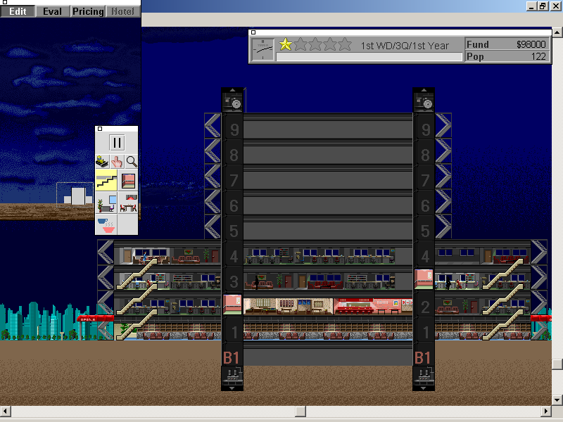 SimTower: The Vertical Empire Windows 3.x without condos, our tower is quite empty at night