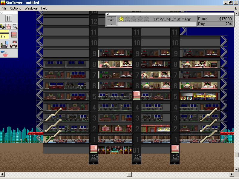 SimTower: The Vertical Empire Windows 3.x During the night there is only activity in our condos