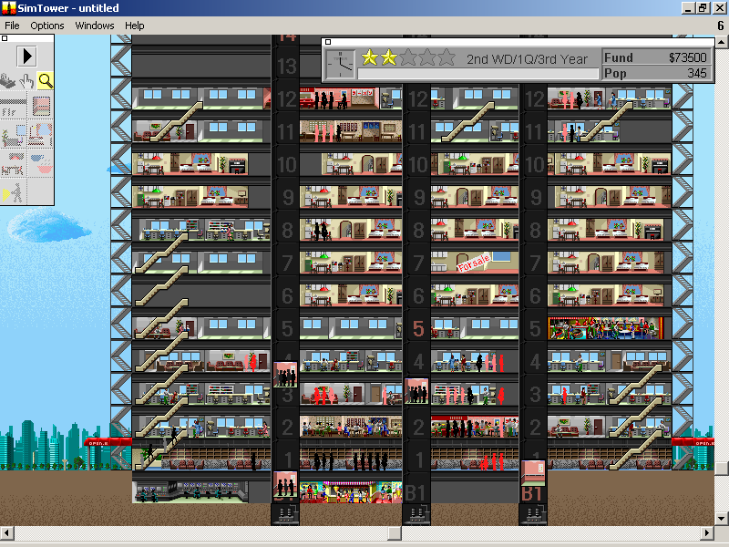 SimTower: The Vertical Empire Windows 3.x We add a second elevator car to ease the vertical traffic