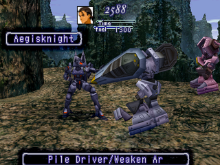 Xenogears PlayStation Fighting an Aegisknight