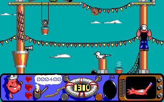 Popeye 2 DOS Climbing a mast in Level four.