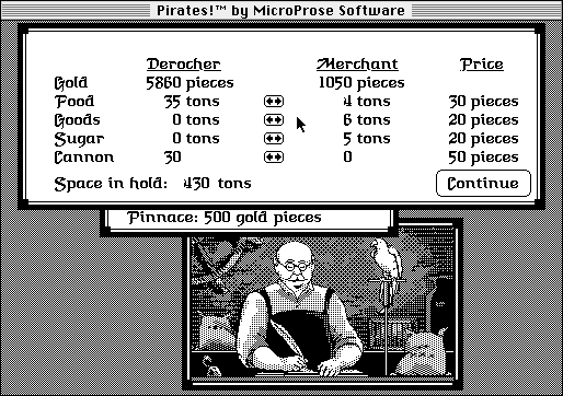 Sid Meier's Pirates! Macintosh Trading with a merchant.