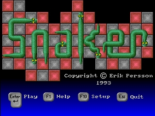 Snaker DOS Title screen