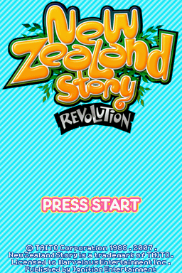 New Zealand Story Revolution Nintendo DS Title screen.