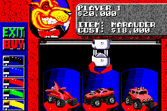 Rock n' Roll Racing Game Boy Advance Select your car and color.