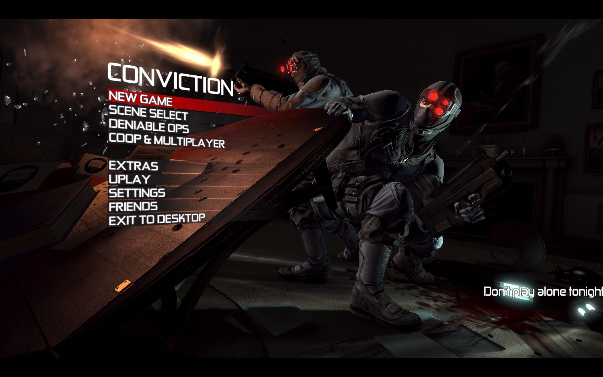 Tom Clancy's Splinter Cell: Conviction Windows Main Menu