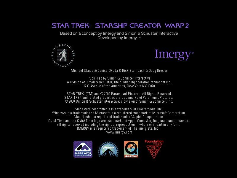 Star Trek: Starship Creator Warp II Windows Title screen