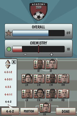 Football Academy Nintendo DS Team management
