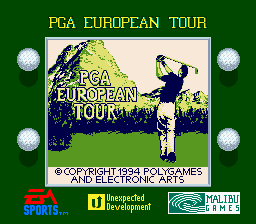 PGA European Tour Game Boy Title screen (Super Game Boy)