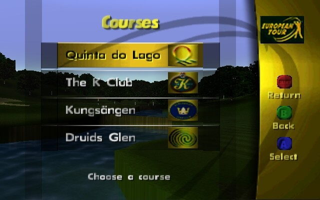 PGA European Tour Nintendo 64 A list of the courses to choose from.