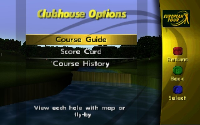 PGA European Tour Golf Nintendo 64 The clubhouse options.