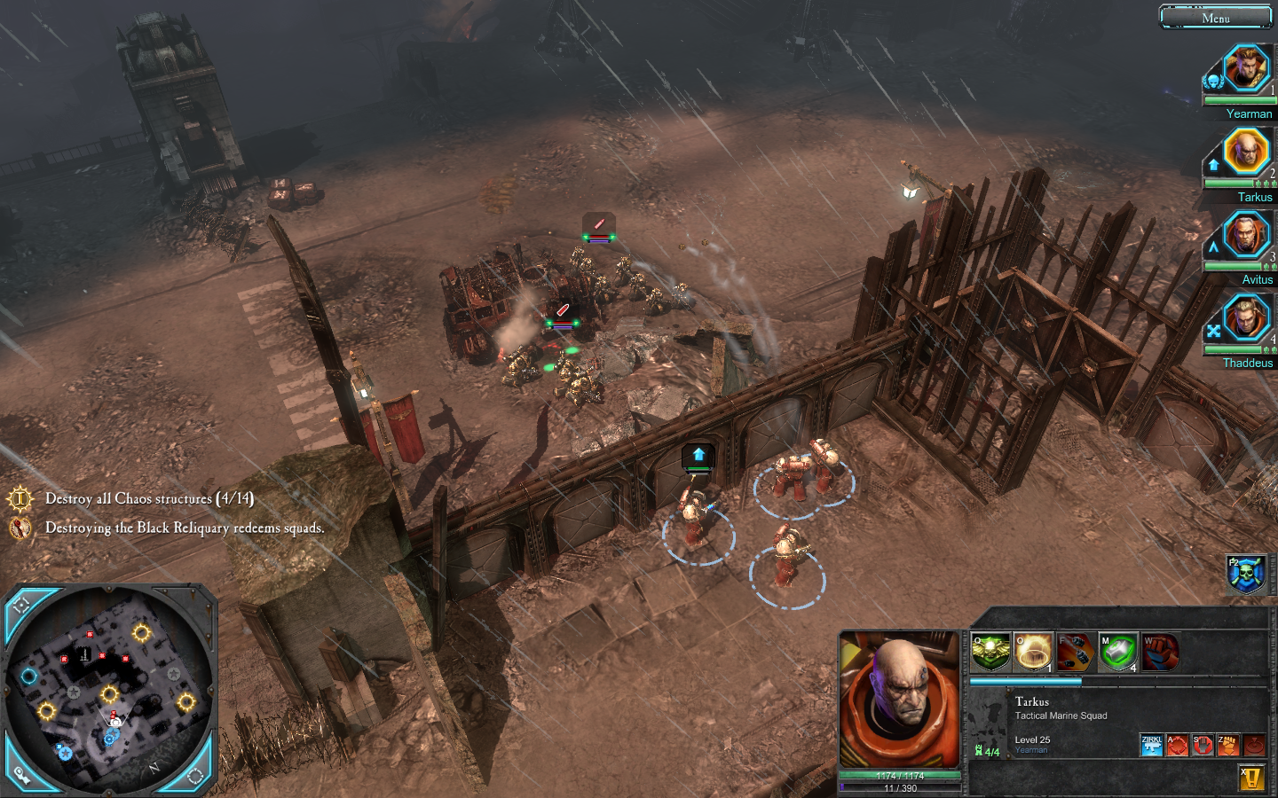 Warhammer 40,000: Dawn of War II - Chaos Rising Windows Throwing grenades over a wall at some unsuspecting Chaos soldiers.