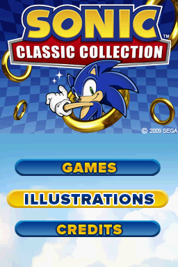 Sonic Classic Collection Nintendo DS Title screen with main menu.