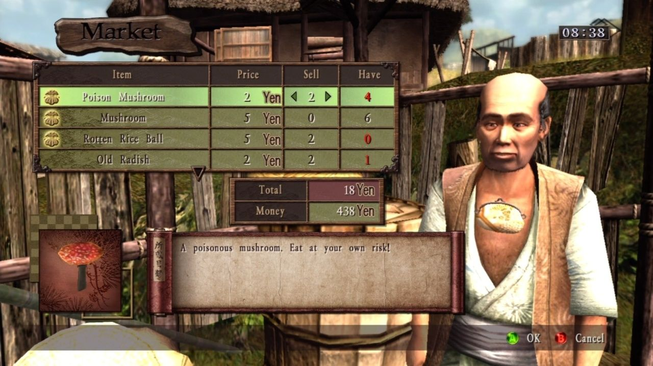 Way of the Samurai 3 Xbox 360 Selling my poison mushrooms to that poor merchant.